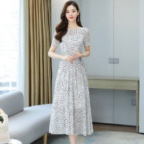 Dress Summer 2021 S M L XL 2XL 3XL longuette singleton  Short sleeve commute Crew neck middle-waisted Zebra pattern Socket A-line skirt routine Others 35-39 years old Type X Shanglilai Korean version Lace up zipper print More than 95% Chiffon polyester fiber Polyester 100%