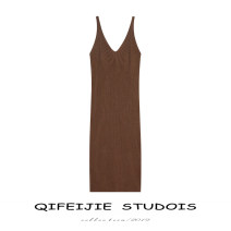 Dress Spring 2021 Coffee off white fine thread (split) apricot (ice silk A-line skirt) Average size Mid length dress singleton  Sleeveless commute V-neck middle-waisted Solid color Socket A-line skirt other camisole 18-24 years old Type A Qifeijie Retro Exposed back thread Q107. knitting nylon