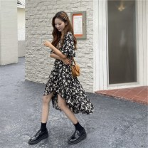 Dress Summer 2021 black S,M,L,XL,2XL Middle-skirt singleton  Short sleeve commute V-neck High waist Broken flowers zipper Irregular skirt routine Others 25-29 years old Type A Korean version Pleated, bright silk, open back, zipper 81% (inclusive) - 90% (inclusive) Chiffon cotton