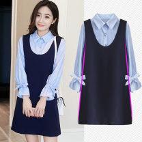 Dress Other / other M,L,XL,XXL Korean version Long sleeves Medium length autumn Lapel nylon