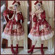 Dress Winter 2020 Dress, cloak S,M,L Middle-skirt Two piece set Long sleeves Sweet Crew neck middle-waisted Cartoon animation zipper Ruffle Skirt bishop sleeve Type A Bows, ruffles, stitching, bandages, buttons, prints More than 95% polyester fiber Lolita