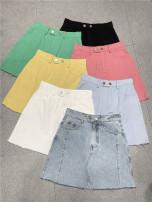 skirt Summer 2021 S,M,L Short skirt commute High waist Denim skirt Solid color Korean version