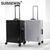 suitcase SUISSEWIN China two thousand four hundred and eighty For men and women Silver 7612 black 7612 silver 7611 black 7611 20 inch 24 inch 28 inch Self driving tour Fashion trend yes SN7611 Universal wheel External Summer of 2018 polyester fiber yes