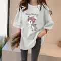 Women's large Summer 2021 M L XL XXL T-shirt singleton  commute easy moderate Socket Short sleeve Cartoon letters with animal patterns Simplicity Crew neck Medium length F17 Fansade 18-24 years old Polyester 95% polyurethane elastic fiber (spandex) 5% Pure e-commerce (online only)