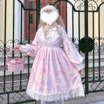 Dress Winter of 2019 Pink OP, purple OP, blue OP, apricot OP, pink OP + airplane box, blue OP + airplane box, purple OP + airplane box, apricot OP + airplane box Average size Mid length dress singleton  Long sleeves Sweet Doll Collar High waist Socket A-line skirt routine Others Type A Other / other