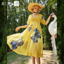 Dress Summer 2020 Yellow green S M L longuette singleton  elbow sleeve commute square neck Elastic waist Decor Socket A-line skirt bishop sleeve 18-24 years old Type A Two or three things Retro printing S20XLYO48 More than 95% polyester fiber Polyester 100%