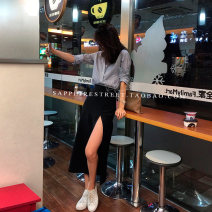 skirt Summer of 2018 S,M,L black Mid length dress Versatile High waist Pencil skirt Solid color Type H 51% (inclusive) - 70% (inclusive) knitting Other / other polyester fiber