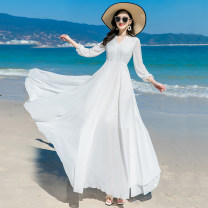 Dress Spring 2021 White red S M L XL XXL XXXL longuette singleton  Long sleeves Sweet V-neck middle-waisted Solid color Socket Big swing routine Others 35-39 years old Type X Shenlan dress Embroidered zipper lace LYQ-20211-1 More than 95% Chiffon polyester fiber Polyester 98.9% others 1.1% Bohemia