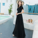 Dress Summer 2020 black S M L XL XXL XXXL longuette singleton  Short sleeve commute V-neck High waist Solid color Socket Big swing Lotus leaf sleeve Others 30-34 years old Shenlan dress Simplicity More than 95% Chiffon polyester fiber Polyester 98% other 2% Pure e-commerce (online only)