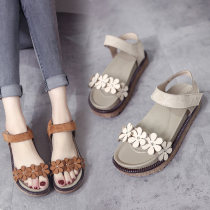 Sandals Beige 1801 brown, 1801 beigs, 1802 brown and 1802 three billion five hundred and thirty-six million three hundred and seventy-three thousand eight hundred and thirty-nine PULARYME/Plemey PU Muffin bottom Summer of 2018 Open toe Middle heel (3-5cm) England Pure color Youth (18-40 years old) PU