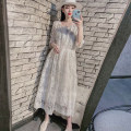 Dress Summer 2021 white Average size longuette Two piece set elbow sleeve commute square neck High waist Solid color Socket A-line skirt routine Type A Other / other Lace Lace