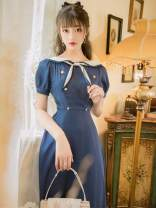 Dress Summer 2020 blue S,M,L Mid length dress singleton  Short sleeve Sweet Admiral High waist zipper Princess Dress puff sleeve Others 18-24 years old Type A Other / other princess