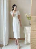 Dress Summer 2021 Apricot S,M,L,XL Long sleeves tailored collar High waist double-breasted routine 51% (inclusive) - 70% (inclusive) polyester fiber