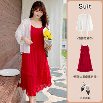 Women's large Summer 2021 White sunscreen, black dress, red dress XL reference weight 120-155 kg, 2XL reference weight 155-180 kg, 3XL reference weight 180-205 kg, 4XL reference weight 205-240 kg Other oversize styles Two piece set commute easy moderate Cardigan Long sleeves Solid color Crew neck