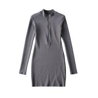 Dress Spring 2021 Gray, black S, M Short skirt singleton  Long sleeves commute High waist Solid color Socket Cotton Village Retro 81% (inclusive) - 90% (inclusive) knitting
