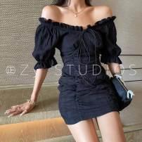 Dress Summer 2021 Black, white, blue S, M Short skirt singleton  Short sleeve commute One word collar Solid color 25-29 years old Korean version Y-8238