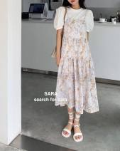 Dress Summer 2021 White, purple, peacock blue Average size Mid length dress Two piece set commute 25-29 years old Korean version