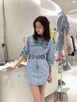 Dress Spring 2021 blue S, M Short skirt singleton  Long sleeves commute Polo collar High waist Solid color routine 25-29 years old Korean version Denim