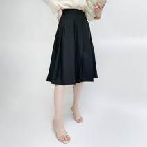 skirt Spring 2021 S,M,L,XL Classic black, light grey Mid length dress Versatile High waist Pleated skirt Solid color Type A 30% and below C.L.Rumi cotton