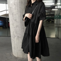 Women's large Summer 2020, spring 2020 black Dress singleton  commute easy moderate Socket Solid color Korean version Polo collar Polyester, polyester, cotton Three dimensional cutting bishop sleeve 18-24 years old Button Medium length Irregular skirt