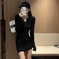Dress Autumn 2020 S,M,L Mid length dress Long sleeves V-neck High waist Solid color double-breasted A-line skirt routine 18-24 years old Type A 31% (inclusive) - 50% (inclusive) knitting other