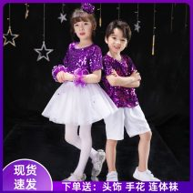 Children's performance clothes Purple (men's) suit, purple (women's) suit, men's, women's neutral 100cm,110cm,120cm,130cm,140cm,150cm,160cm Other / other Class B Modern dance Acetate 80% cotton 20% polyester Four, five, six, seven, eight, nine, ten, eleven, twelve, thirteen, fourteen princess