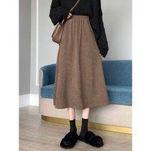 skirt Autumn 2020 Average size Brown, black longuette commute High waist High waist skirt Type A 18-24 years old 91% (inclusive) - 95% (inclusive) Korean version