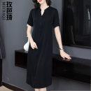 Women's large Summer 2020 black L XL 2XL 3XL 4XL Dress singleton  commute Socket Short sleeve Solid color Korean version V-neck routine MNRJ9150 Maiba Qi 35-39 years old Medium length Other 100% Pure e-commerce (online only)