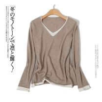 sweater Autumn 2020 S,M,L,XL,2XL Light grey, black, khaki Long sleeves Socket Fake two pieces have cash less than that is registered in the accounts Cashmere 30% and below V-neck Thin money commute routine Solid color Self cultivation Fine wool Keep warm and warm 30-34 years old Cashmere