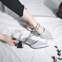 Sandals three billion five hundred and thirty-six million three hundred and seventy-three thousand eight hundred and thirty-nine Gold and silver Duin  PU Baotou Thick heel High heel (5-8cm) Summer of 2018 Flat buckle Korean version Solid color Adhesive shoes Youth (18-40 years old) rubber daily PU PU