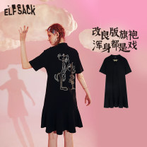 Dress Summer 2020 Knight black S M L Short skirt singleton  Short sleeve commute stand collar middle-waisted other A-line skirt routine 18-24 years old Type A Goblin's pocket Retro printing ten million two hundred thousand one hundred and twenty-one More than 95% cotton