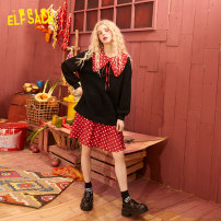 Dress Spring 2020 Velvet black velvet black a velvet black B S M L Short skirt Fake two pieces Long sleeves Doll Collar middle-waisted Socket other routine 18-24 years old Type A Goblin's pocket Splicing 51% (inclusive) - 70% (inclusive) cotton Cotton 67% polyester 33%