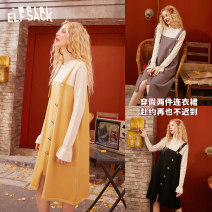 Dress Spring 2020 Grayish purple cream yellow temperament black grayish purple a grayish purple B cream yellow a cream yellow B temperament black a temperament black B M Middle-skirt singleton  Long sleeves Sweet Crew neck middle-waisted Socket other Lotus leaf sleeve straps 18-24 years old Type A