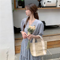 Dress Summer 2021 Light blue, lotus root Average size Short sleeve commute other other other routine 18-24 years old Other / other Korean version 51% (inclusive) - 70% (inclusive) other other