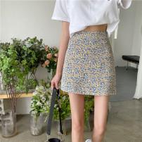 skirt Summer 2021 S,M,L Blue Floral short, red floral short, blue floral long, red floral long Short skirt commute High waist skirt Broken flowers Type A 18-24 years old 31% (inclusive) - 50% (inclusive) Korean version