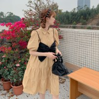 Dress Summer 2021 BLACK BOW STRAP vest, white dress, khaki dress, black dress Average size Middle-skirt Two piece set Short sleeve commute Polo collar Loose waist Solid color routine 18-24 years old Type A Korean version Button 51% (inclusive) - 70% (inclusive) other