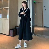 Dress Autumn 2020 black Average size Mid length dress singleton  Long sleeves commute V-neck High waist Solid color Socket other bishop sleeve 18-24 years old Type A Korean version 31% (inclusive) - 50% (inclusive)