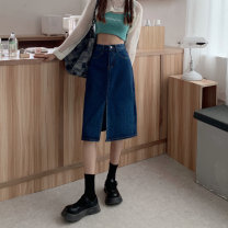 skirt Summer 2021 S,M,L,XL blue Mid length dress commute High waist A-line skirt Solid color Type A 18-24 years old 51% (inclusive) - 70% (inclusive) Korean version