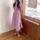 Dress Summer 2021 Black, white, purple Average size Mid length dress singleton  Short sleeve commute Crew neck Solid color Big swing puff sleeve 18-24 years old Type A Korean version 31% (inclusive) - 50% (inclusive)