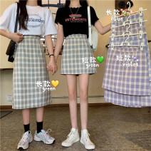 skirt Summer 2021 S,M,L Purple skirt, green skirt, blue skirt, purple skirt, green skirt, blue skirt Short skirt commute High waist skirt lattice Type A 18-24 years old 31% (inclusive) - 50% (inclusive) Korean version
