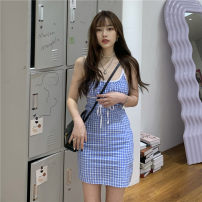 Dress Spring 2021 blue S, M Short skirt singleton  Sleeveless commute High waist camisole 18-24 years old Korean version 51% (inclusive) - 70% (inclusive)