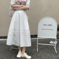 skirt Summer 2021 Average size White, black Mid length dress commute High waist A-line skirt Solid color Type A 18-24 years old 31% (inclusive) - 50% (inclusive) Splicing Korean version