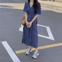 Dress Summer 2021 blue Average size Mid length dress singleton  Short sleeve commute V-neck High waist Broken flowers Socket Big swing other 18-24 years old Type A Korean version 51% (inclusive) - 70% (inclusive) other other