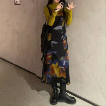 Dress Winter 2020 Oil painting dress, yellow base coat S. M, average size longuette Long sleeves commute routine 18-24 years old Korean version 31% (inclusive) - 50% (inclusive)
