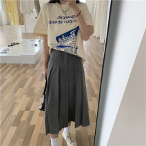 skirt Summer 2021 S, M grey Mid length dress commute A-line skirt Solid color Type A 18-24 years old 51% (inclusive) - 70% (inclusive) other Korean version