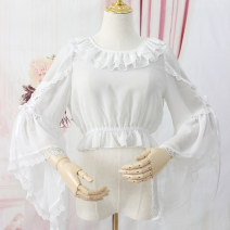 Lace / Chiffon Spring 2021 White, black Small (75-105 kg), large (105-135 kg) Long sleeves Versatile Socket singleton  easy have cash less than that is registered in the accounts Crew neck Solid color pagoda sleeve 18-24 years old QS-1088 Ruffles, lace 91% (inclusive) - 95% (inclusive)