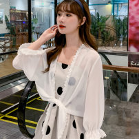 short coat Summer 2020 S M L white three quarter sleeve routine Thin money singleton  easy commute routine Solid color 18-24 years old Show cabinet 96% and above other Other 100% Pure e-commerce (online only)