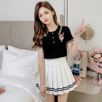 Fashion suit Summer 2021 S M L XL White + Black + white 18-25 years old Shu Yu WWFS8098# 81% (inclusive) - 90% (inclusive) polyester fiber Other polyester 95% 5% Pure e-commerce (online only)