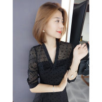Dress Spring 2021 black S M L XL longuette singleton  three quarter sleeve commute V-neck High waist other Socket A-line skirt routine Others 30-34 years old bobowaltz Korean version 81% (inclusive) - 90% (inclusive) polyester fiber Polyester 85% other 15% Pure e-commerce (online only)