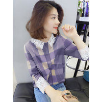 shirt violet S M L Spring 2021 polyester fiber 81% (inclusive) - 90% (inclusive) Long sleeves commute Regular other routine lattice 30-34 years old Straight cylinder bobowaltz Korean version BA201v00822p1180 Polyester 85% polyamide 15% Pure e-commerce (online only)